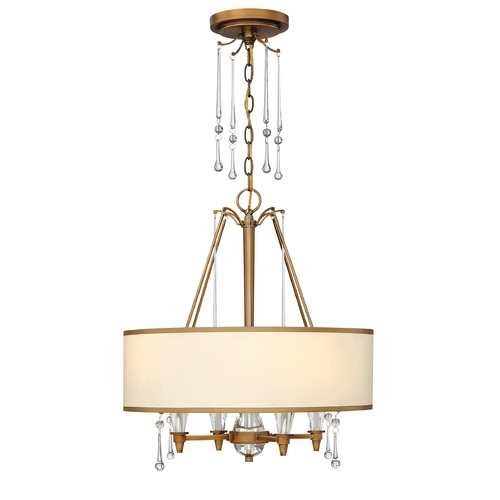 Frederick Ramond Drum Pendant Light with Beige / Cream Shade in Brushed Bronze Finish FR44504BBZ