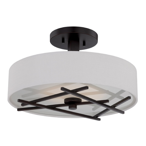 Nuvo Lighting Modern LED Semi-Flushmount Light with White Shade in Patina Bronze Finish 62/119