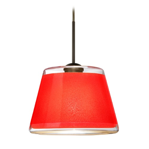 Besa Lighting Besa Lighting Pica Bronze LED Mini-Pendant Light with Empire Shade 1JT-PIC9RD-LED-BR