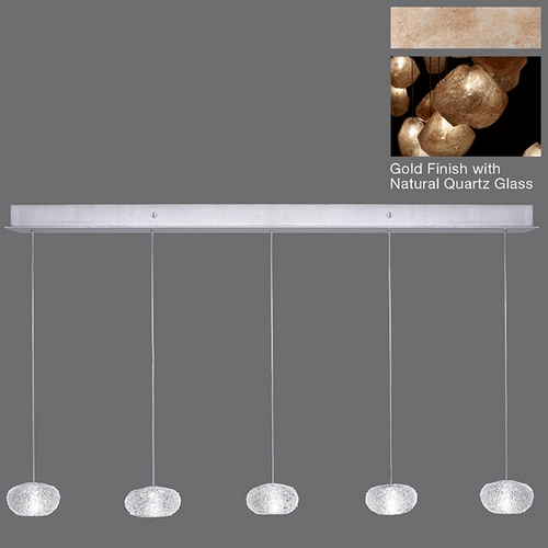 Fine Art Lamps Fine Art Lamps Natural Inspirations Gold-Toned Silver Leaf Multi-Light Pendant 863340-24ST