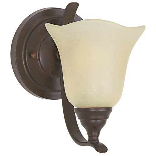 Feiss Lighting Sconce Wall Light with Beige / Cream Glass in Grecian Bronze Finish VS10601-GBZ