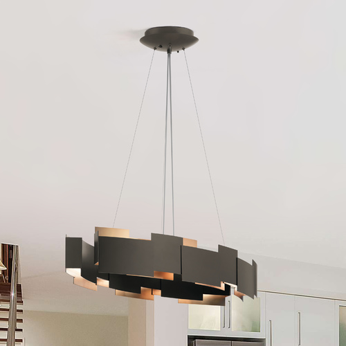 Kichler Lighting Kichler Lighting Moderne Olde Bronze LED Pendant Light with Oval Shade 42993OZLED