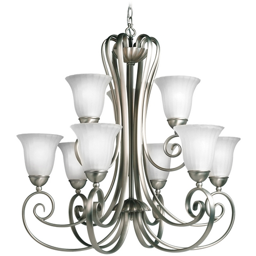 Kichler Lighting Kichler Chandelier with White Glass in Brushed Nickel Finish 1828NI