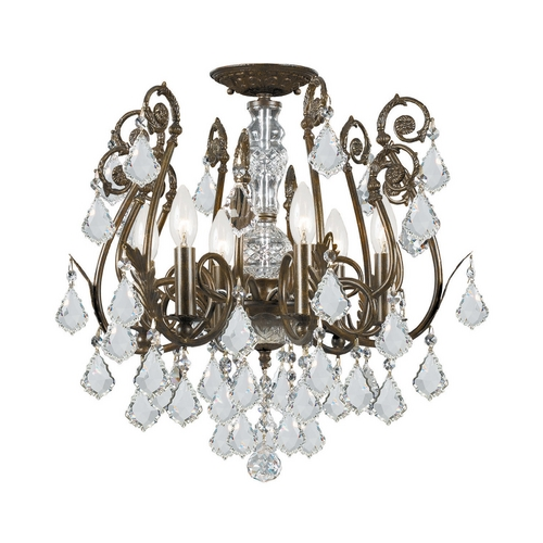 Crystorama Lighting Crystal Semi-Flushmount Light in English Bronze Finish 5115-EB-CL-MWP