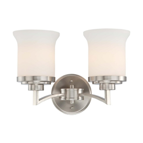 Nuvo Lighting Modern Bathroom Light with White Glass in Brushed Nickel Finish 60/4102