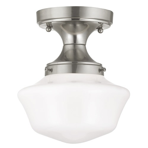Design Classics Lighting 8-Inch Satin Nickel Schoolhouse Vintage Style Ceiling Light FDS-09 / GA8