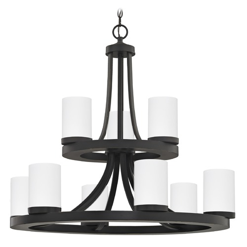 Design Classics Lighting Bronze Chandelier with White Glass 163-78 GL1028C