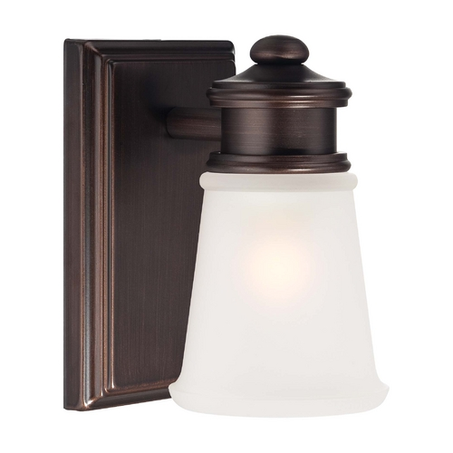 Minka Lavery Sconce Wall Light with White Glass in Dark Brushed Bronze Finish 4531-267B