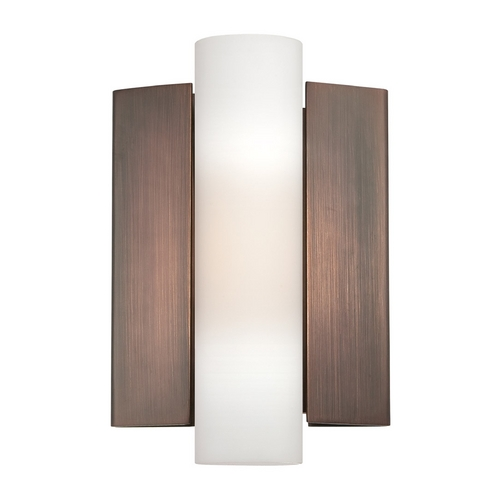Nuvo Lighting Modern LED Sconce Wall Light with White Glass in Hazel Bronze Finish 62/121