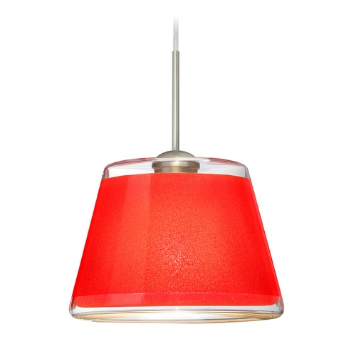 Besa Lighting Besa Lighting Pica Satin Nickel LED Mini-Pendant Light with Empire Shade 1JT-PIC9RD-LED-SN