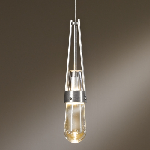 Hubbardton Forge Lighting Hubbardton Forge Lighting Link Vintage Platinum Mini-Pendant Light with Bowl / Dome Shade 161040-82-ZM434
