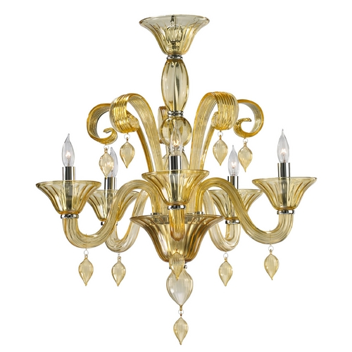 Cyan Design Cyan Design Treviso Chrome with Amber Chandelier 6493-5-14
