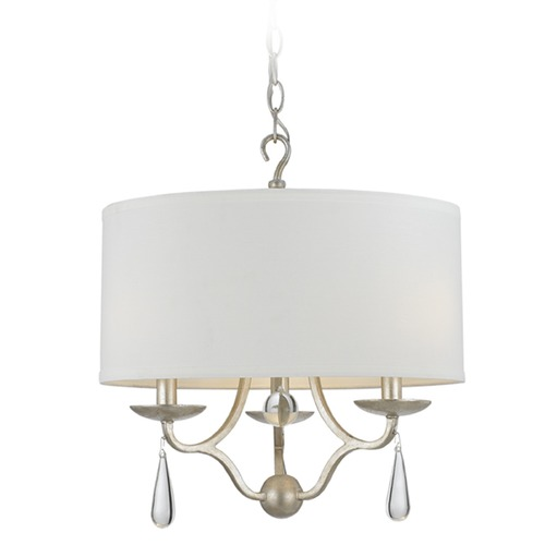 Crystorama Lighting Crystorama Lighting Manning Silver Leaf Pendant Light with Drum Shade 5973-SL