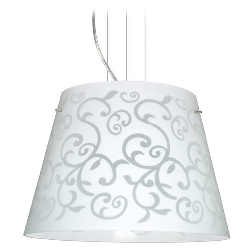 Besa Lighting Besa Lighting Amelia Satin Nickel LED Pendant Light with Empire Shade 1KV-4394WD-LED-SN