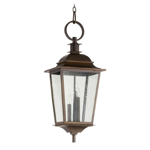 Quorum Lighting Seeded Glass Outdoor Hanging Light Oiled Bronze Quorum Lighting 7731-3-86