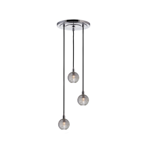 Hudson Valley Lighting Modern Multi-Light Pendant Light with Clear Glass and 3-Lights 3613-PC-B-001