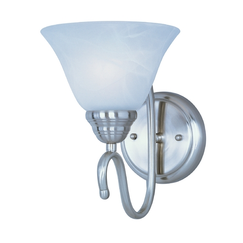 Maxim Lighting Sconce Wall Light with White Glass in Satin Nickel Finish 12066MRSN