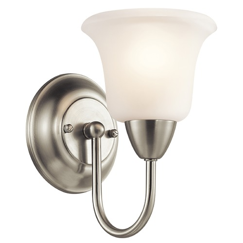 Kichler Lighting Kichler Sconce Wall Light with White Glass in Brushed Nickel Finish 45881NI
