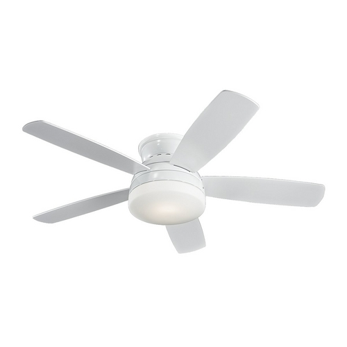 Monte Carlo Fans Modern Ceiling Fan with Light with White Glass in White / Matte Opal Finish 5TV52WHD