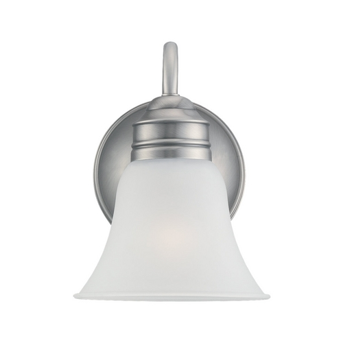 Sea Gull Lighting Sconce Wall Light with White Glass in Antique Brushed Nickel Finish 44850-965