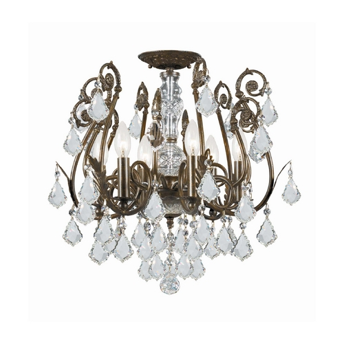 Crystorama Lighting Crystal Semi-Flushmount Light in English Bronze Finish 5115-EB-CL-S