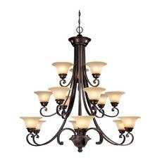 Dolan Designs Lighting Dolan Designs 3-Tier 15-Light Chandelier in Deep Bronze 1083-207