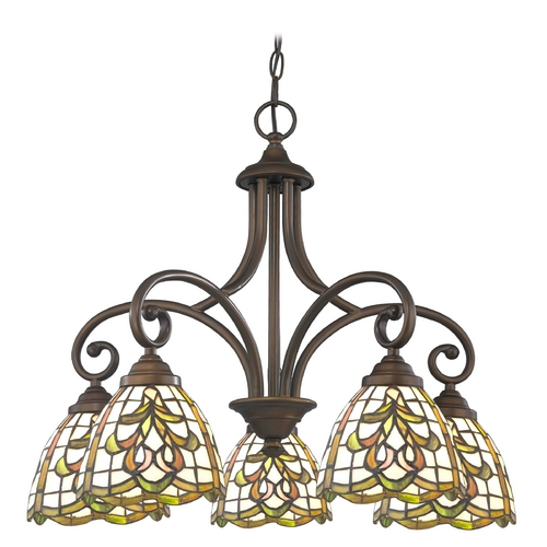 Design Classics Lighting Chandelier with Multi-Color Glass in Neuvelle Bronze Finish 717-220 GL1045