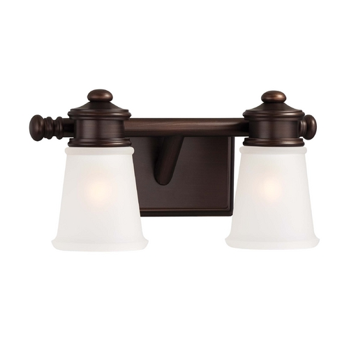 Minka Lavery Bathroom Light with White Glass in Dark Brushed Bronze Finish 4532-267B