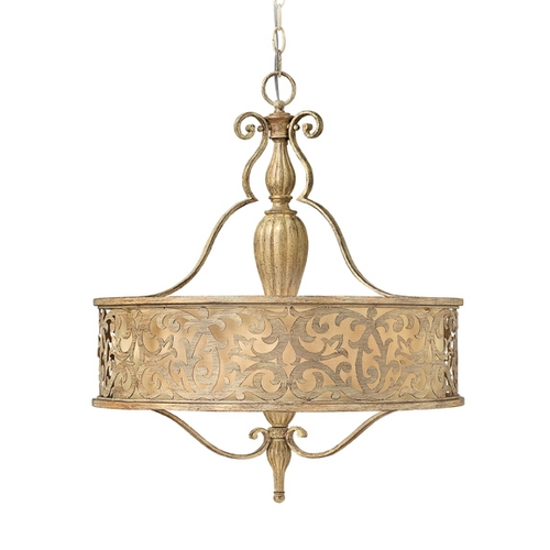 Frederick Ramond Frederick Ramond Carabel Brushed Champagne Pendant Light with Drum Shade FR44623BCH