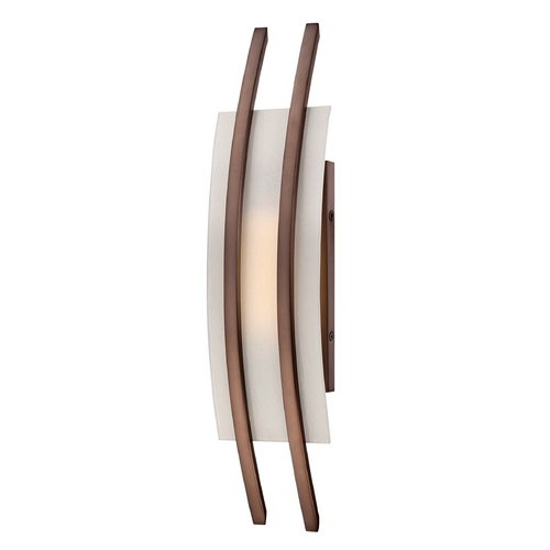 Nuvo Lighting Modern LED Sconce Wall Light with White Glass in Hazel Bronze Finish 62/122