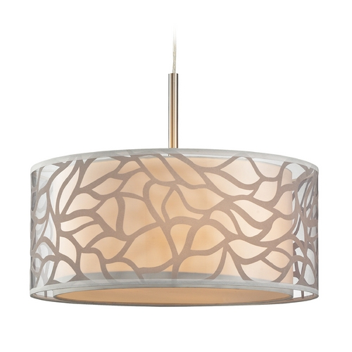 Elk Lighting Modern LED Drum Pendant Light with Beige / Cream Shades in Brushed Nickel Finish 53001/3-LED