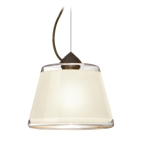Besa Lighting Besa Lighting Pica Bronze LED Pendant Light with Empire Shade 1KX-PIC9WH-LED-BR