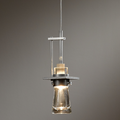 Hubbardton Forge Lighting Hubbardton Forge Lighting Erlenmeyer Vintage Platinum Mini-Pendant Light with Cylindrical Shade 161060-82-ZM343