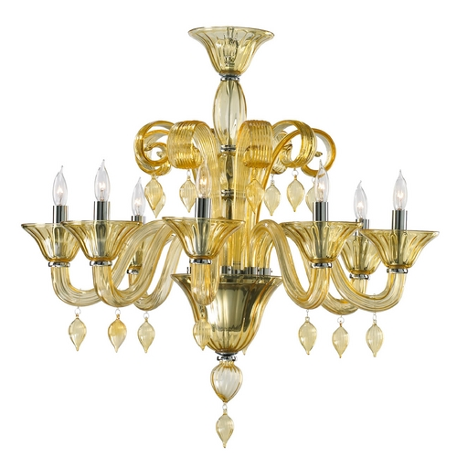 Cyan Design Cyan Design Treviso Chrome with Amber Chandelier 6493-8-14