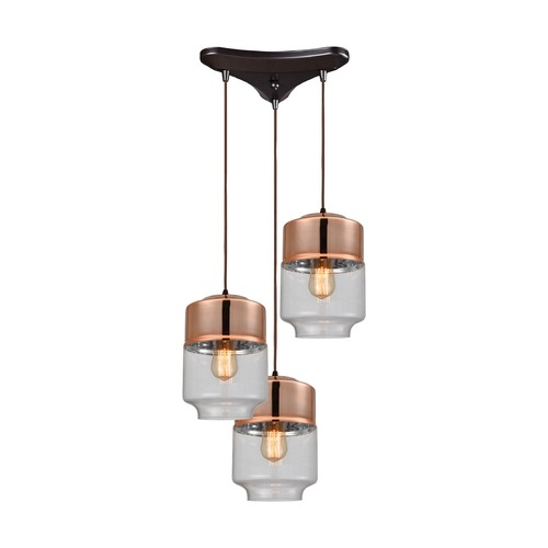 Elk Lighting Elk Lighting Revelo Oil Rubbed Bronze Multi-Light Pendant with Drum Shade 10491/3