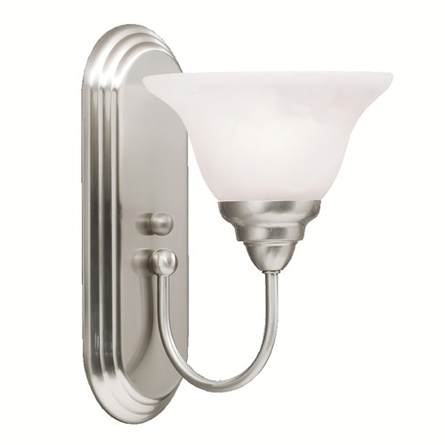 Kichler Lighting Kichler Sconce Light with Alabaster Glass in Brushed Nickel Finish 5991NI