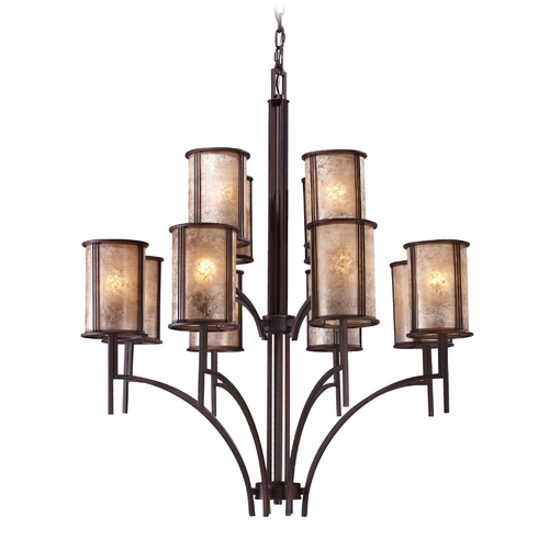 Elk Lighting Chandelier with Brown Mica Shades in Aged Bronze Finish 15036/8+4