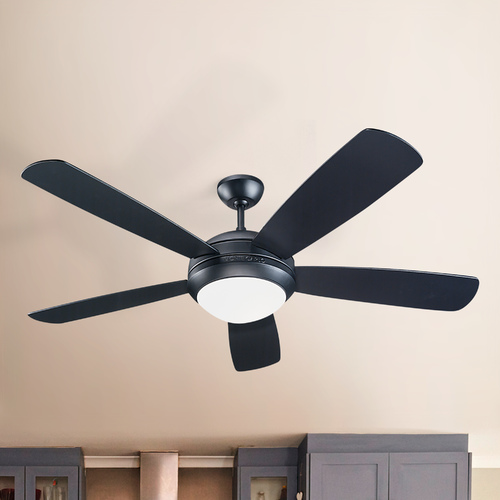 Monte Carlo Fans Modern Ceiling Fan with Light with White Glass in Matte Black / Matte Opal Finish 5DI52BKD-L