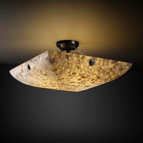 Justice Design Group Justice Design Group Alabaster Rocks! Collection Semi-Flushmount Light ALR-9651-25-MBLK-F6