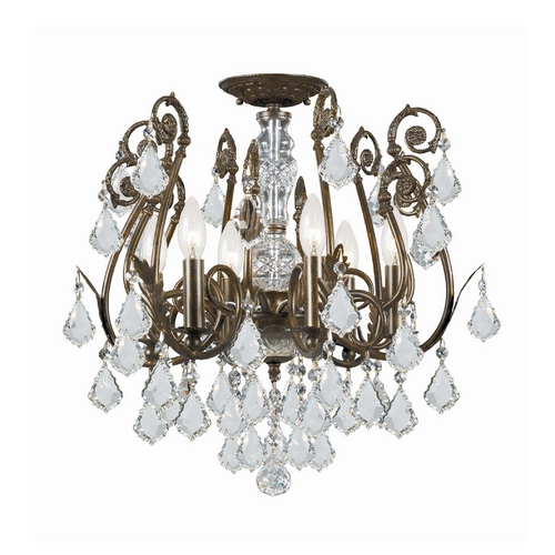 Crystorama Lighting Crystal Semi-Flushmount Light in English Bronze Finish 5115-EB-CL-SAQ