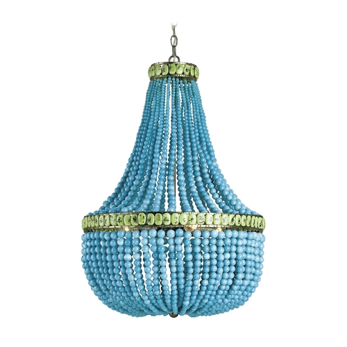 Currey and Company Lighting Modern Chandelier in Pyrite Bronze/turquoise/jade Finish 9770
