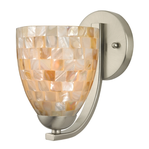 Design Classics Lighting Sconce with Mosaic Glass in Satin Nickel Finish 585-09 GL1026MB