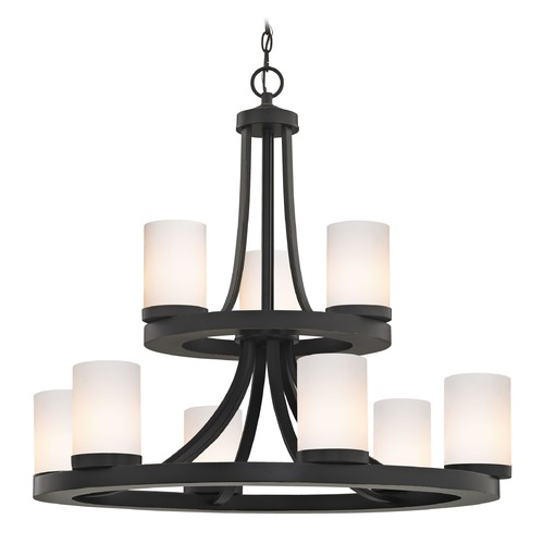 Design Classics Lighting Bronze Chandelier with Gloss White Glass 163-78 GL1024C