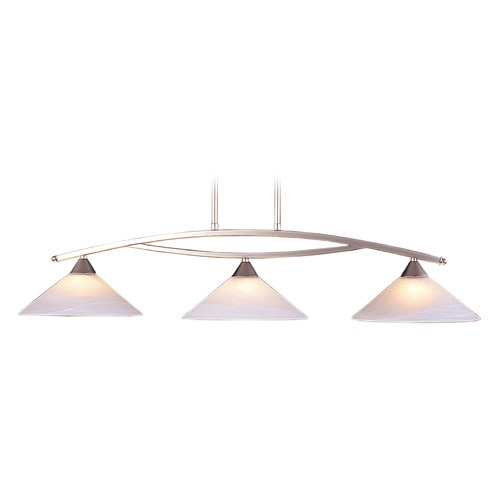 Elk Lighting Elk Lighting Elysburg Satin Nickel LED Island Light with Conical Shade 6502/3-LED