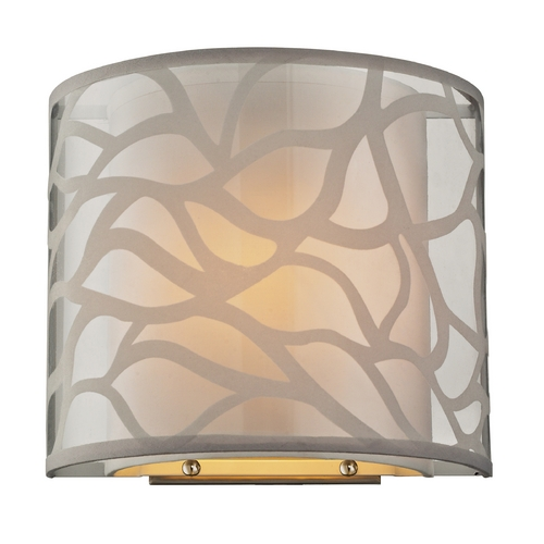Elk Lighting Modern Sconce Wall Light with Beige / Cream Shade in Brushed Nickel Finish 53002/1