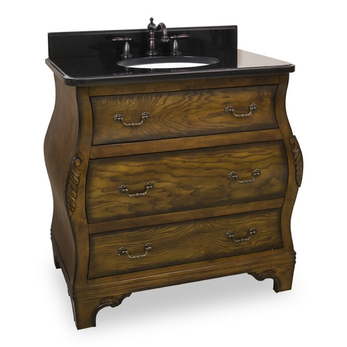 Hardware Resources Bathroom Vanity in Walnut Finish - Pre Assembled Top and Bowl VAN009-T