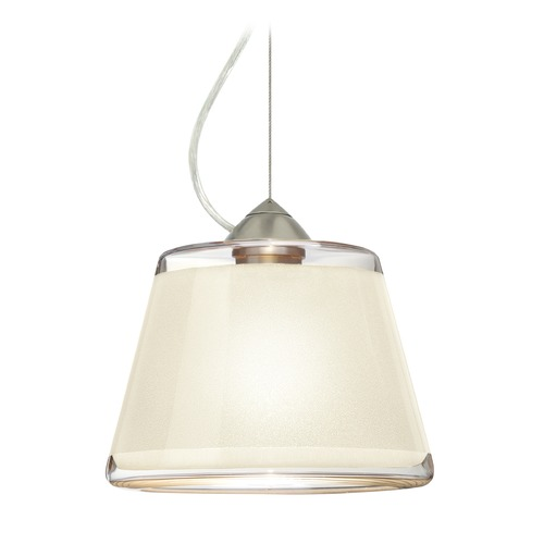 Besa Lighting Besa Lighting Pica Satin Nickel LED Pendant Light with Empire Shade 1KX-PIC9WH-LED-SN