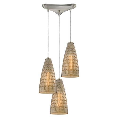 Elk Lighting Elk Lighting Mickley Satin Nickel Multi-Light Pendant with Conical Shade 10249/3