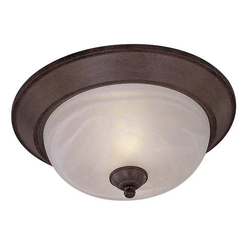 Minka Lavery Flushmount Light with White Glass in Antique Bronze Finish 892-91