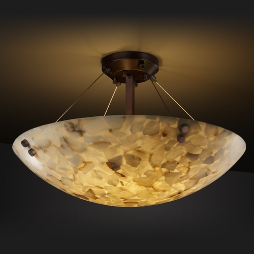 Justice Design Group Justice Design Group Alabaster Rocks! Collection Semi-Flushmount Light ALR-9651-35-DBRZ-F1